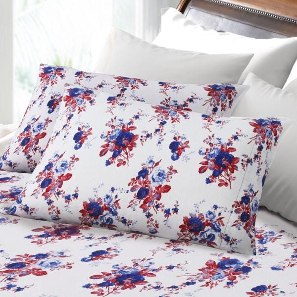 Hemstitched Rose Garden 6-ounce Flannel Deep Pocket Sheet Set
