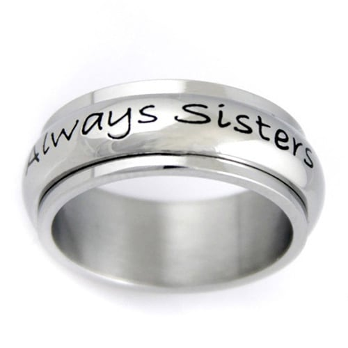 Stainless Steel 'Always Sisters, Forever Friends' Spinner Ring