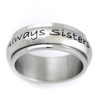 Stainless Steel Always Sisters, Forever Friends Spinner Ring