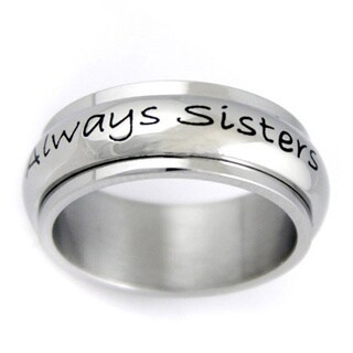 Stainless Steel 'Always Sisters, Forever Friends' Spinner Ring
