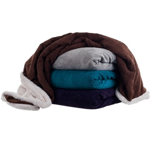 Lavish Home Corduroy Sherpa Throw Blanket
