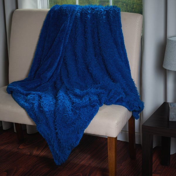 Lavish Home Soft Plush Long Haired Fleece Throw with Colored Sherpa Backing