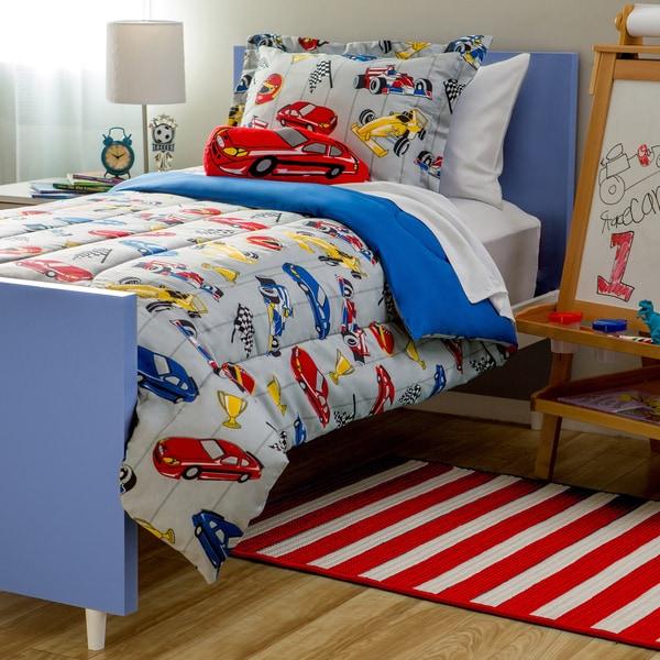 kids collection race car 4 piece comforter set free