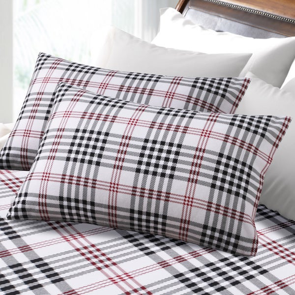 6-ounce Hemstitched Plaid Deep Pocket Flannel Sheet Set