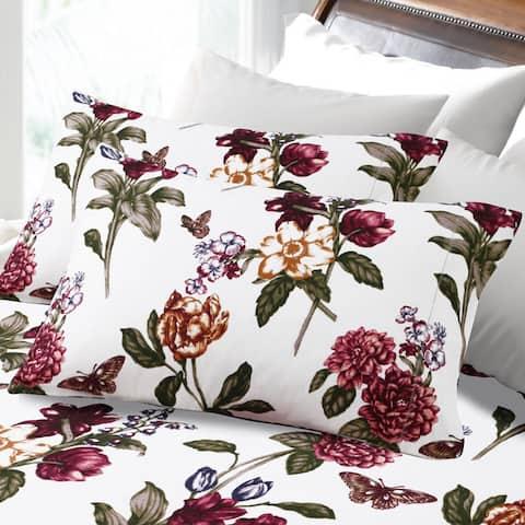 200-GSM Hemstitched Blossoms Printed Deep Pocket Flannel Bed Sheet Set