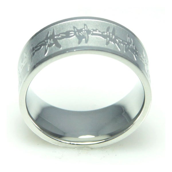 Men's Engraved Barbed Wire Stainless Steel Ring. Opens flyout.