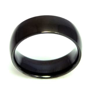 Black-plated Stainless Steel Men's Ring
