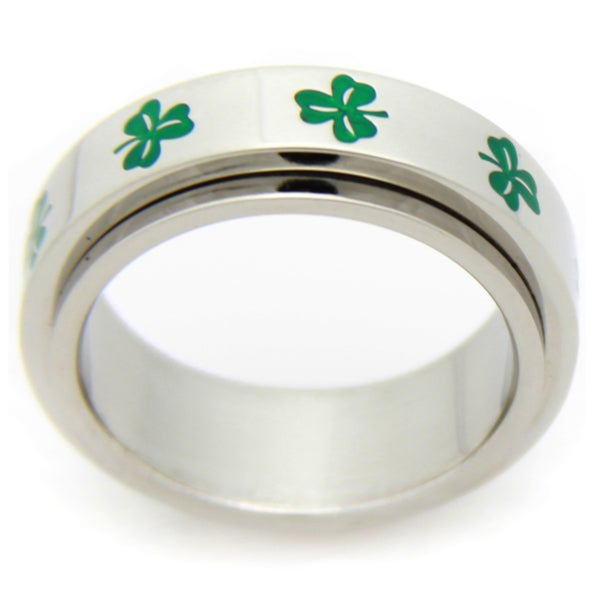 Stainless Steel Irish Clover Spinner Ring. Opens flyout.