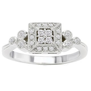 Avanti 14k White Gold 1/4ct TDW Diamond Vintage Princess Halo Ring (G-H, SI1-SI2)