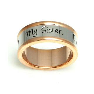 Rose Goldtone Stainless Steel Sister Ring