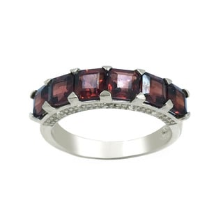 Sterling Silver Square Garnet and White Topaz Band Ring