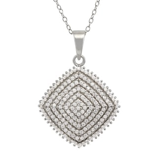 Gioelli Sterling Silver Diamond Shaped Cubic Zirconia Necklace