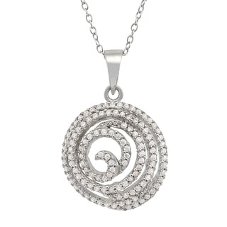 Gioelli Sterling Silver Cubic Zirconia Spiral Necklace