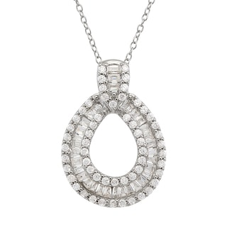 Gioelli Sterling Silver Cubic Zirconia Oval Necklace