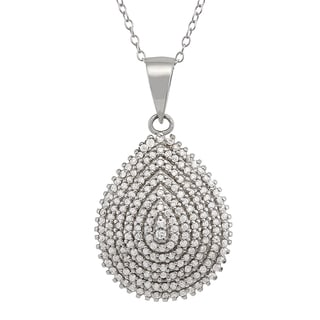 Gioelli Sterling Silver Cubic Zirconia Teardrop Necklace
