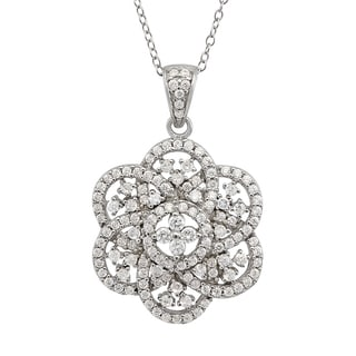 Gioelli Sterling Silver Cubic Zirconial Floral Necklace