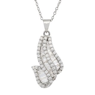 Gioelli Sterling Silver Cubic Zirconia Twist Necklace