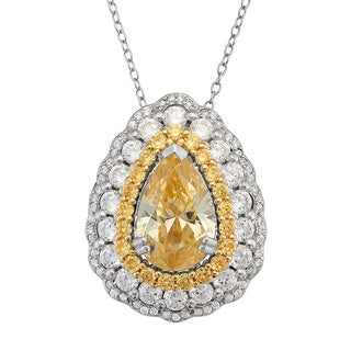 Gioelli Sterling Silver Pear Pendant with White and Yellow Cubic Zirconia