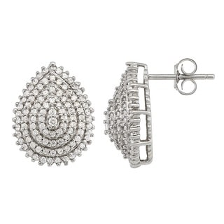 Gioelli Sterling Silver Pear-shape Earrings with White Cubic Zirconia