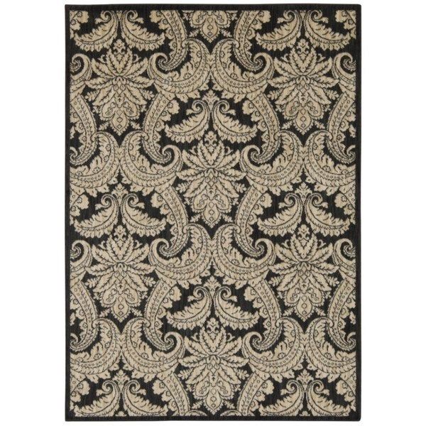 Rug Squared Lafayette Black/ Beige Abstract Area Rug (9'3 x 12'9)
