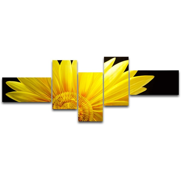 Shop The Sunflower\' 5-panel Metal Wall Art - Free Shipping Today ...