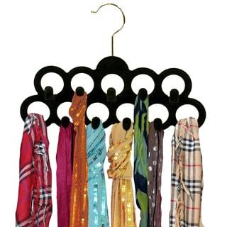 Black Velvet Scarf Hanger with Hooks (3-pack)