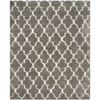 Safavieh Handmade Barcelona Shag Silver/ White Trellis Polyester Rug - 3' x 5'