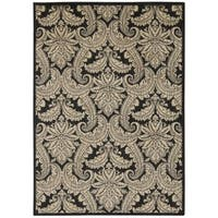 Rug Squared Lafayette Black/ Beige Abstract Area Rug (5'3 x 7'5)