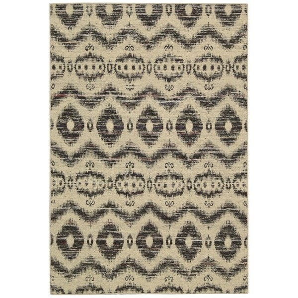 Rug Squared Olympia Beige Black Graphic Area Rug (3'9 x 5'9)
