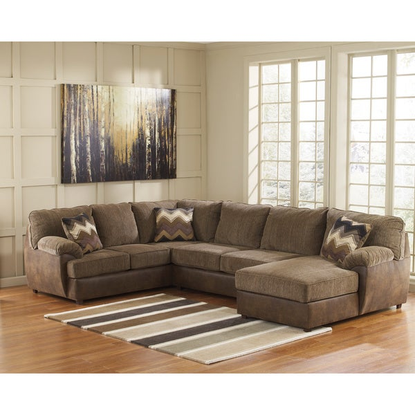 Signature design by ashley cladio 3 piece corner chaise for Ashley furniture chaise sectional