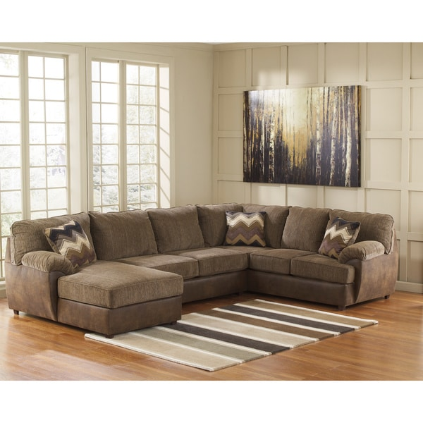 Signature design by ashley cladio 3 piece hickory corner for Ashley leather chaise lounge