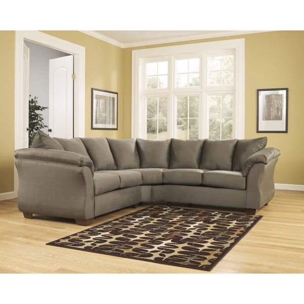 Ashley Wholesale Furniture: Shop Darcy 2-piece Sage Loveseat Sectional