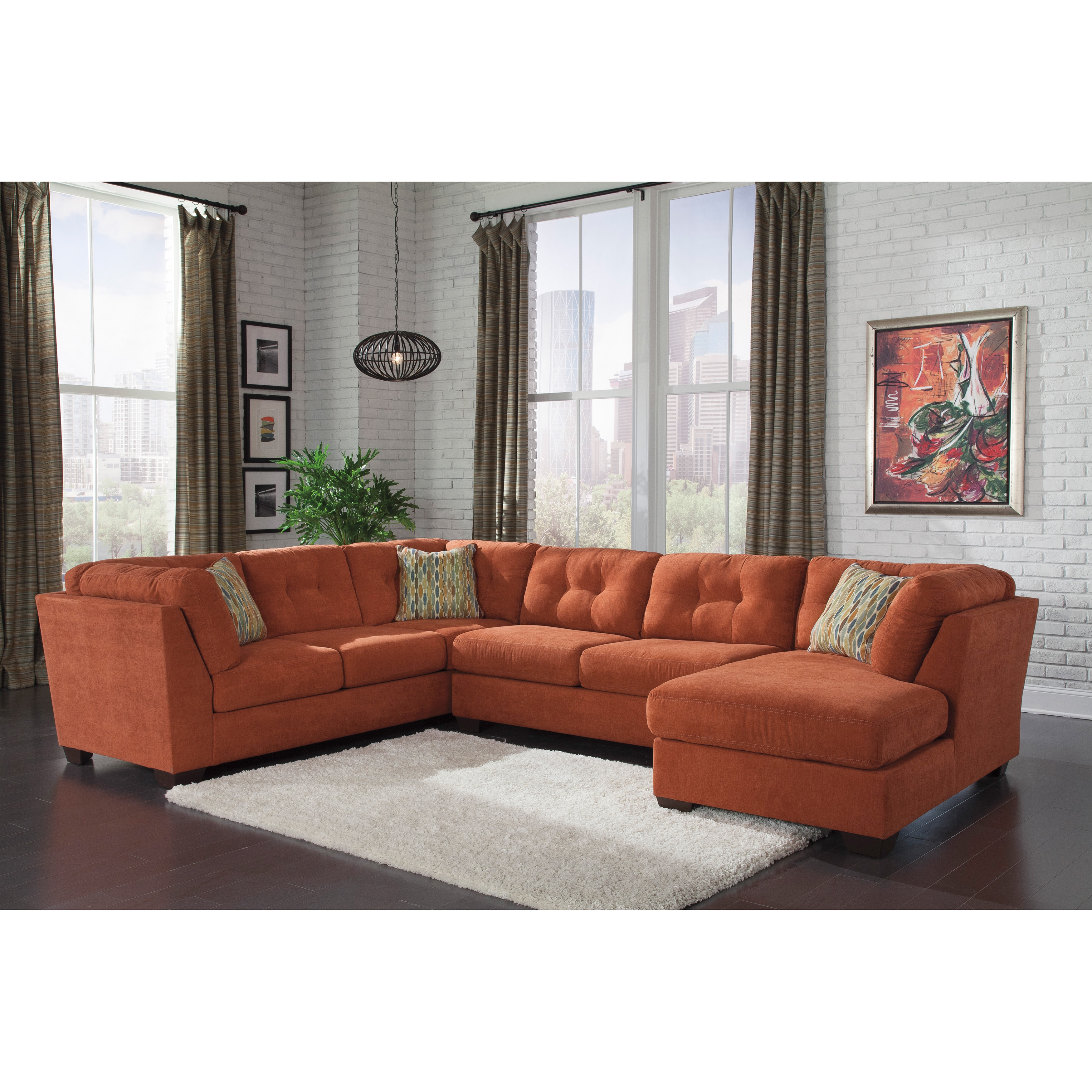 Brilliant Signature Design By Ashley Delta City 3 Piece Corner Chase Armless Loveseat And Sofa Sectional Beatyapartments Chair Design Images Beatyapartmentscom
