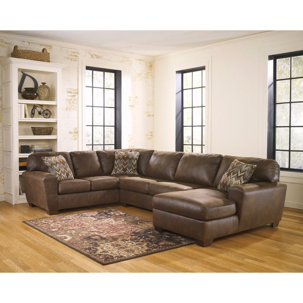 Signature design by ashley foxworth 3 piece corner chaise for Ashley microfiber sectional with chaise