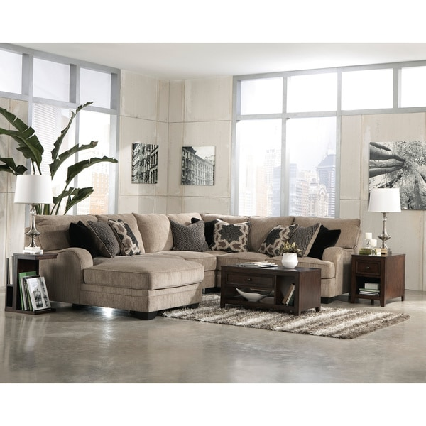 signature design by ashley katisha loveseat platinum sectional with cuddler wedge and armless loveseat