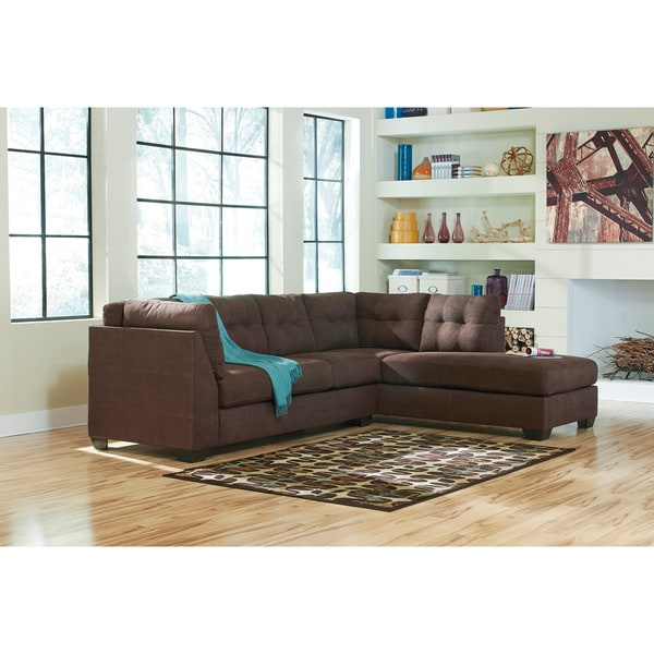 Signature design by ashley maier 2 piece walnut sofa and for Ashley microfiber sectional with chaise