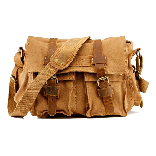 Gearonic Men  x27 s Vintage Canvas and Leather School Military Shoulder Bag 6b77adb18ef51