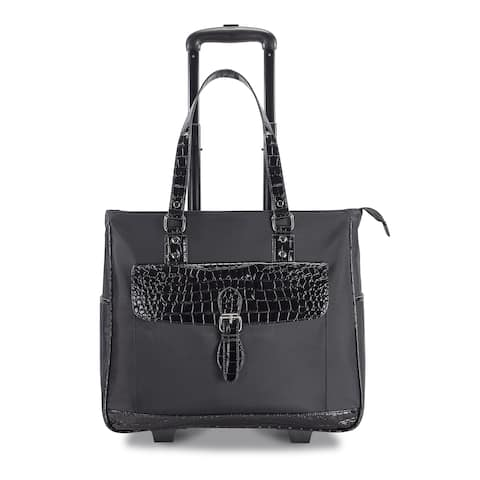 """Heritage """"Lake View"""" Women's Nylon Twill 2-Wheeled 17-inch Laptop Carry-on Business Tote"""