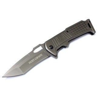 8.5-inch Hunt Down Grey Folding Spring Assisted Knife with Belt Clip