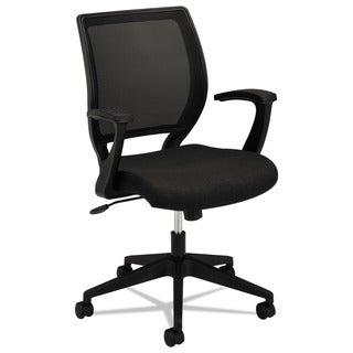 basyx by HON VL521 Series Black Mesh/ Back Fabric Seat Mid-Back Work Chair
