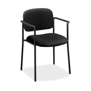 HON VL616 Series Black Leather Stacking Guest Chair with Arms