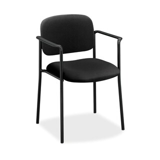 basyx by HON VL616 Series Black Leather Stacking Guest Chair with Arms