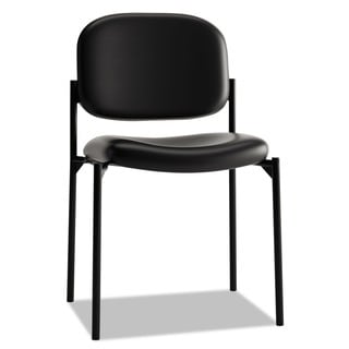 basyx by HON VL606 Series Black Leather Stacking Armless Guest Chair