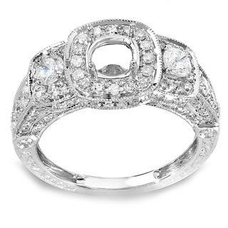 Elora 14k White Gold 1 1/4ct TDW Diamond 3-stone Semi-mount Engagemtn Ring (H-I, I1-I2)
