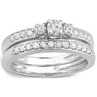 14k White Gold 1/2ct TDW Diamond 3-stone Bridal Ring Set (H-I, I1-I2)