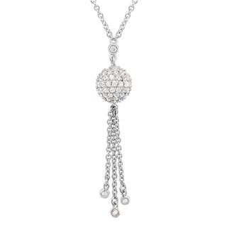 Gioelli Sterling Silver 1 1/2ct TGW Cubic Zirconia Tassel Necklace