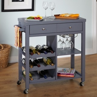 Simple Living Colwood Grey Wine Cart