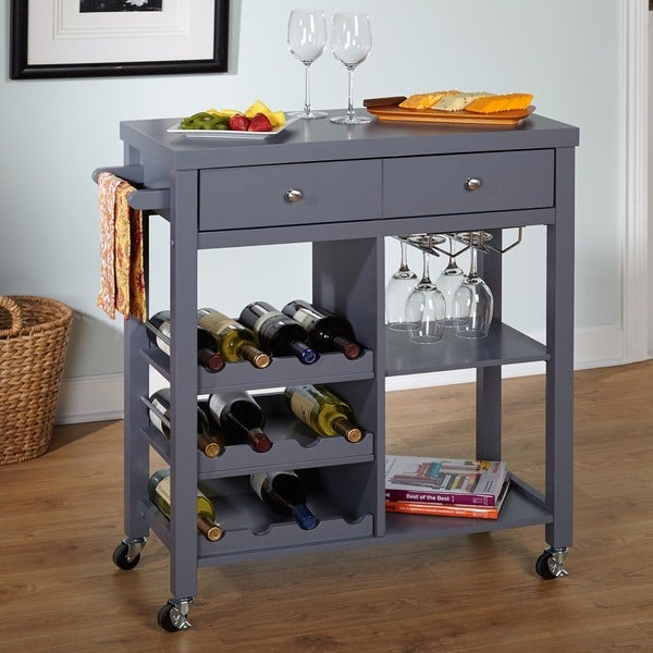 Simple Living Colwood Grey Wine Cart - N/A