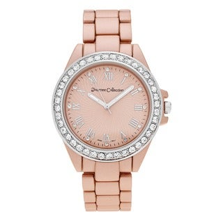 Journee Collection Matte Round Rhinestone Dial Bracelet Link Watch