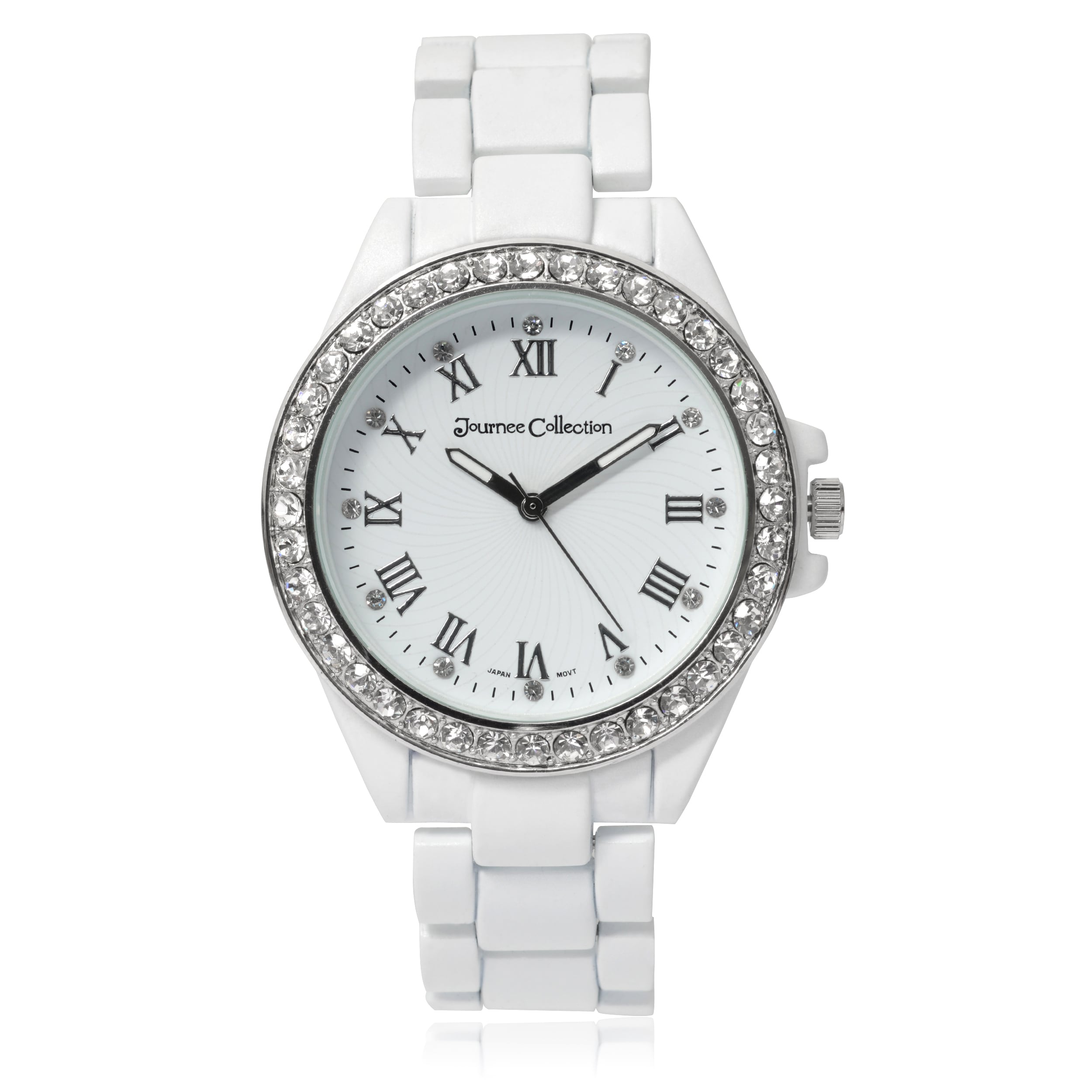 Journee collection Matte Round Rhinestone Dial Link Brace...